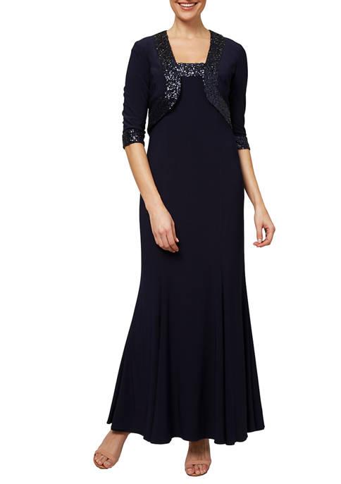 Dana Kay Womens 2 Piece Long Gown Set