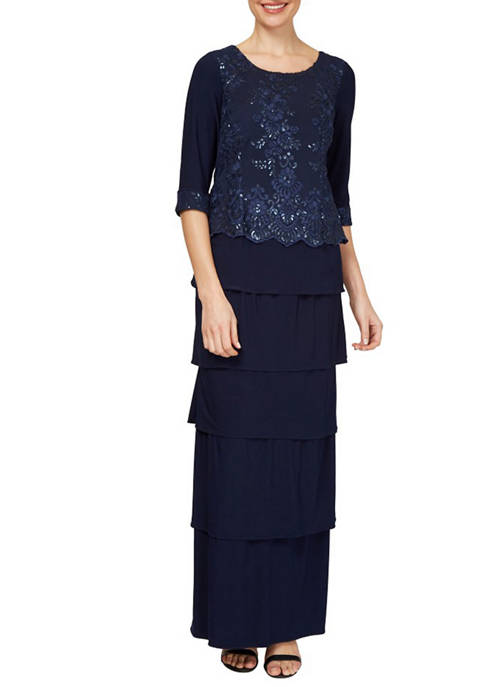 Dana Kay Womens Embroidered Tier Gown