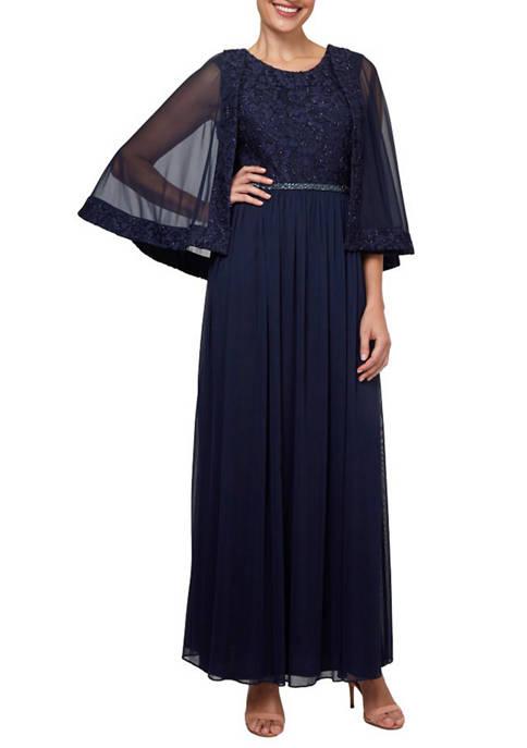Dana Kay Womens Glitter Lace Chiffon Gown