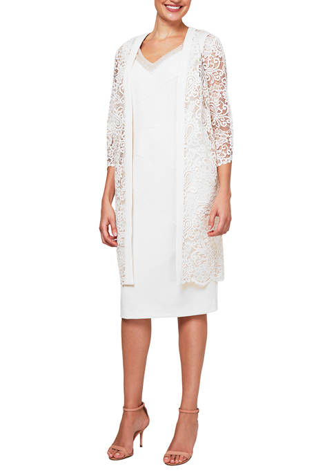 Womens Lace Chiffon Duster Jacket and Dress with Embellished Neckline