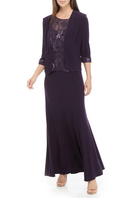 Le Bos Womens 2 Piece Long Jacket Dress