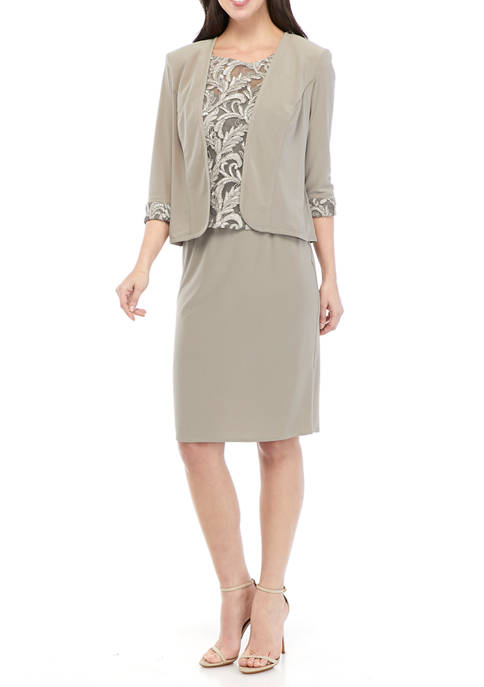 Maya Brooke Womens 2 Piece Jacket Dress with