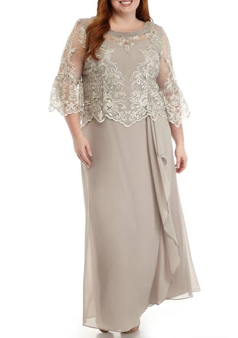 Le Bos Plus Size 3/4 Sleeve Lace Top