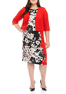 Maya Brooke Plus Size Jacket Dress with Black and White Floral Pattern