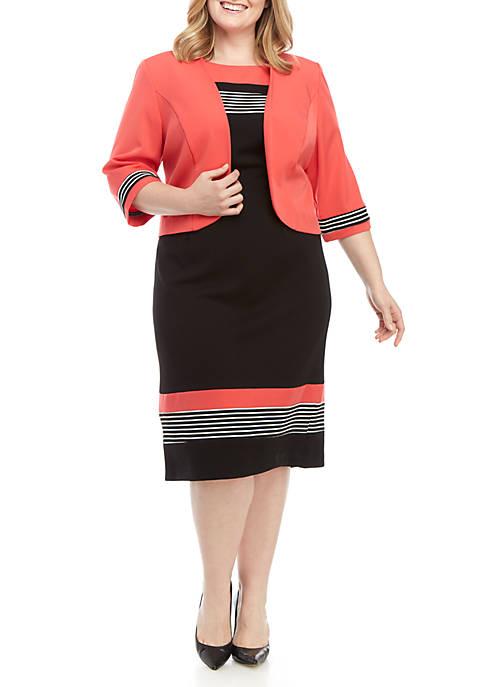 11ffeb1dce9ef2 Maya Brooke. Maya Brooke Plus Size Striped Jacket Dress