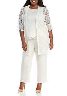 daada6c1dadd2 ... Dress · Le Bos Plus Size 3-Piece Chiffon Lace Pant Set with Jacket and  Cami