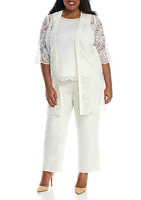 99be144000 Le Bos Plus Size 3-Piece Chiffon Lace Pant Set with Jacket and Cami ...