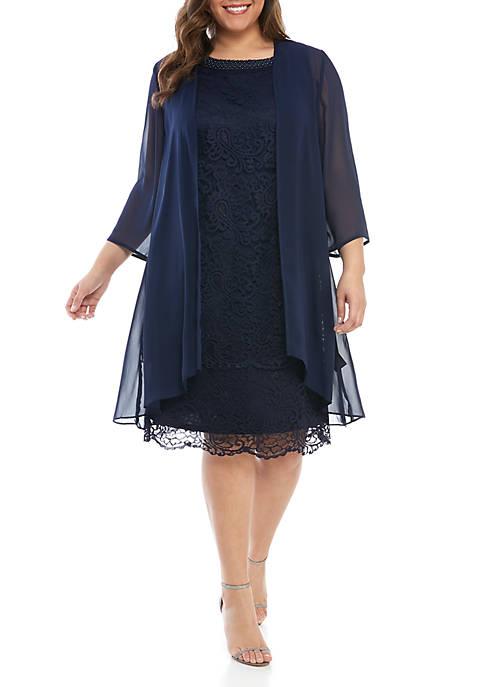 Le Bos Plus Size 2-Piece 3/4 Sleeve Lace