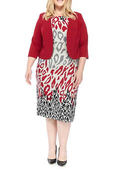 BRIANNA Plus Size Printed 2 Tone Jacket Dress