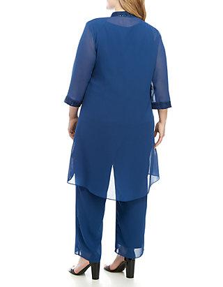 f44c2a071 Le Bos Plus Size 3 Piece Pant Set with Sequin Details | belk
