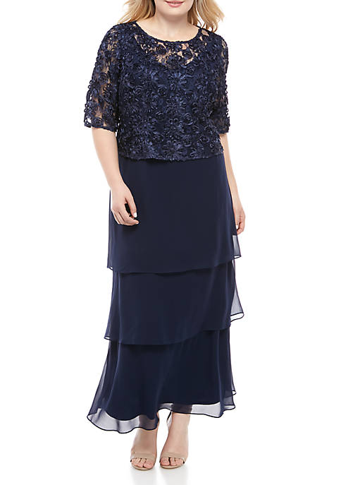 Le Bos Plus Size Embellished Long Lace Gown