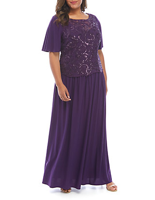 Plus Size Short Sleeve Embroidered Gown