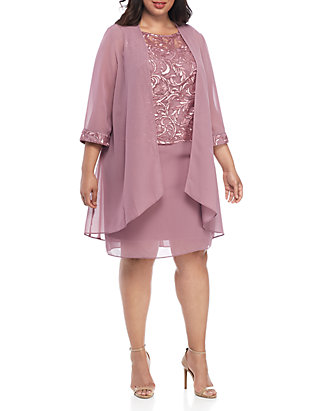 Plus Size Embroidered Mesh Jacket Dress