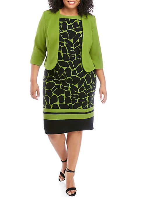Maya Brooke Plus Size Solid Jacket Giraffe Print