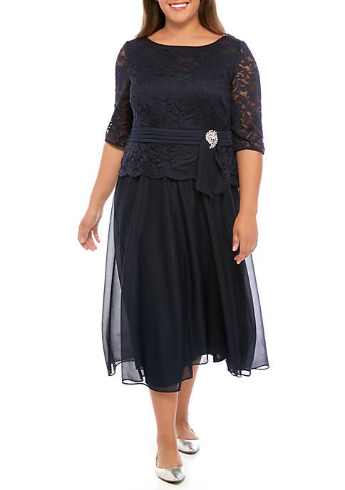 Le Bos Plus Size Lace with Chiffon Dress