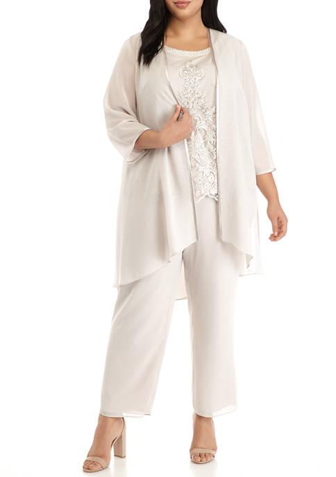 BRIANNA Plus Size 3 Piece Georgette Duster Pants