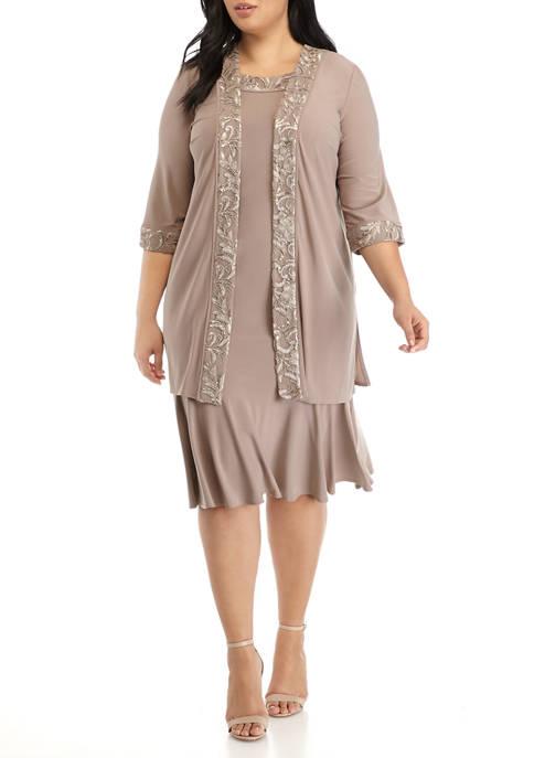BRIANNA Plus Size 2 Piece Duster Jacket Dress