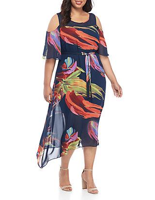 Plus Size Chiffon Cold Shoulder Maxi Dress