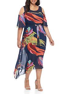 Robbie Bee Plus Size Chiffon Cold Shoulder Maxi Dress
