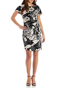 Short Sleeve Faux Wrap Printed Dress