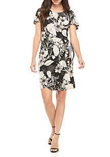 Robbie Bee Short Sleeve Side Tie Floral Print Dress