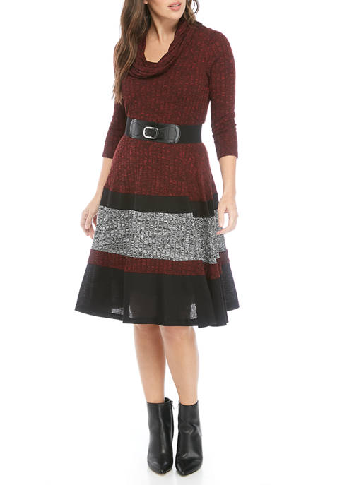 Robbie Bee Womens Color Block Belted Sweater Dress