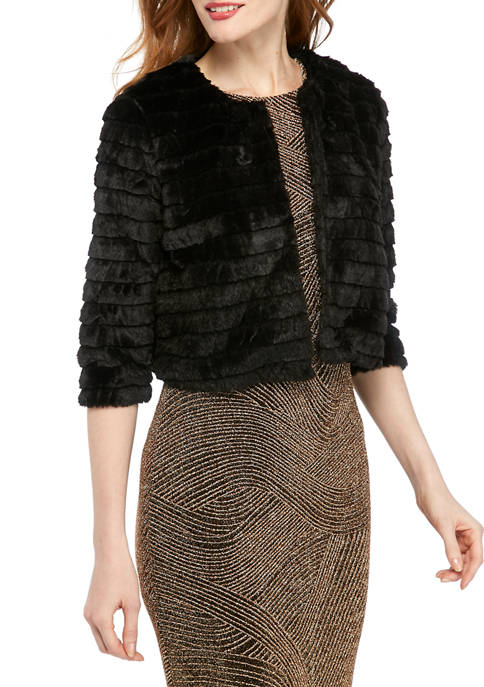 Womens Tiered Faux Fur Topper