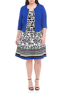 Robbie Bee Plus Size 2 Piece Jacket and Floral Dress Set