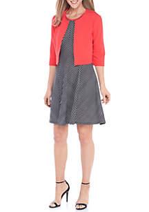 Chevron Stripe Solid Dress with Jacket