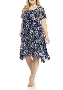Plus Size Short Sleeve Fit and Flare Dress