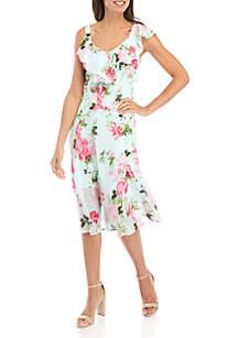 Robbie Bee Ruffle Neck Floral Chiffon Midi Dress