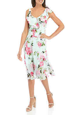86e9014700cc5 Robbie Bee Ruffle Neck Floral Chiffon Midi Dress ...