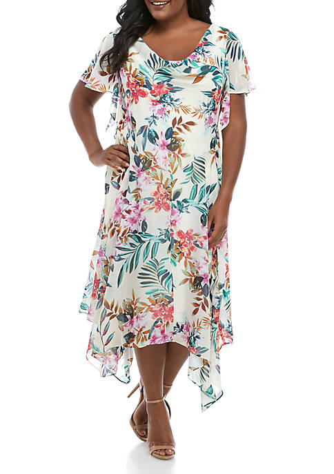 Plus Size Floral Chiffon Maxi Dress