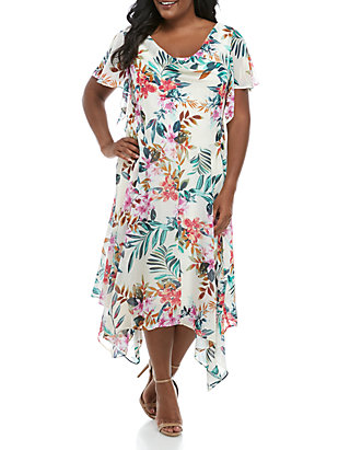 Robbie Bee Plus Size Floral Chiffon Maxi Dress