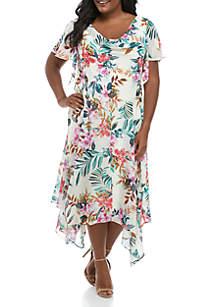 Robbie Bee Plus Size Floral Chiffon Maxi Dress