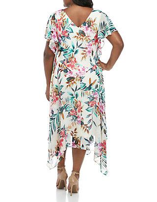 Robbie Bee Plus Size Floral Chiffon Maxi Dress   belk