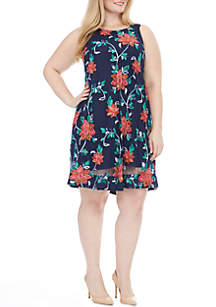 Plus Size Embroidered Floral Shift Dress