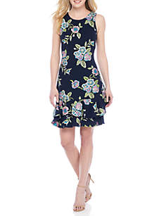 Cap Sleeve Puff Print Fit-and-Flare Dress