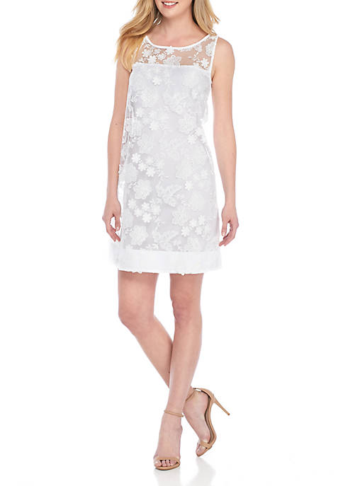 Robbie Bee Sleeveless Textured Embroidered Fit-and-Flare Dress