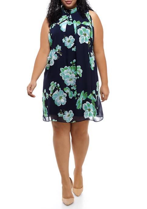 Plus Size Floral Chiffon Halter Dress
