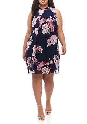 31469a791f2 Robbie Bee Plus Size Mock Neck A Line Dress ...