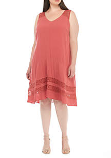 Plus Size Sleeveless Gauze A-Line Dress