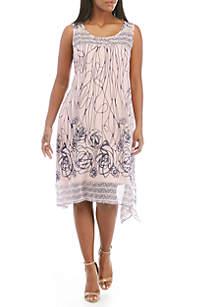 Robbie Bee Plus Size Sleeveless Chiffon A-Line Dress