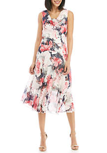 Robbie Bee Sleeveless Asymmetric Hem Chiffon Dress
