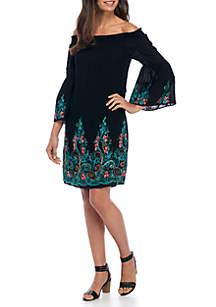 Embroidered Off-The-Shoulder Flare Sleeve Dress