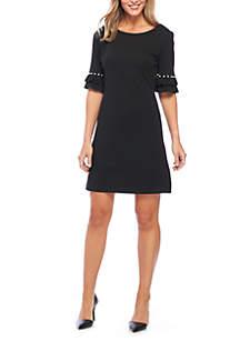 Short Sleeve Pearl Shift Dress