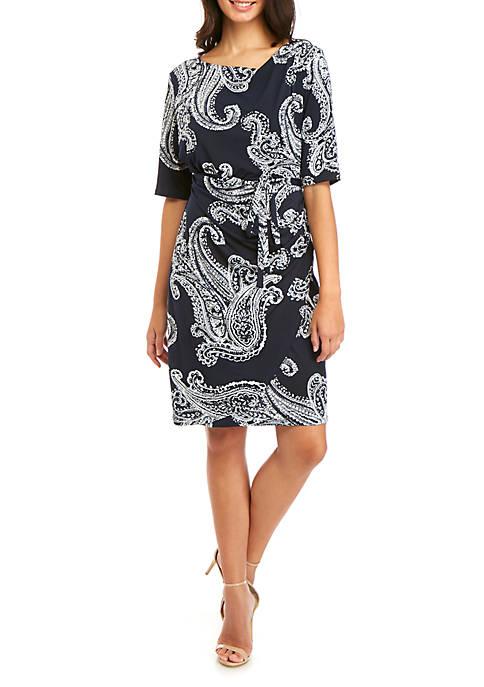 Robbie Bee Short Sleeve Side Ruch Dress