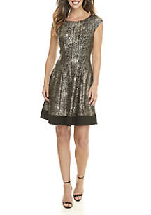Foil Fit and Flare Dress