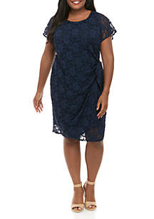 Robbie Bee Plus Size Short Sleeve Lace Side Sarong Dress