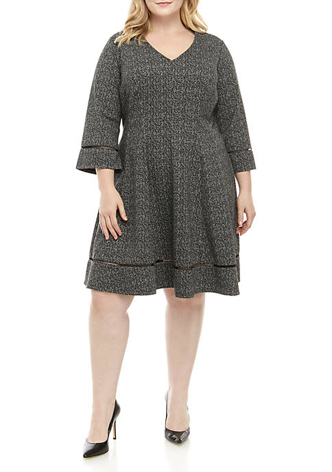 Plus Size Bell Sleeve Heathered V Neck Fit and Flare Dress